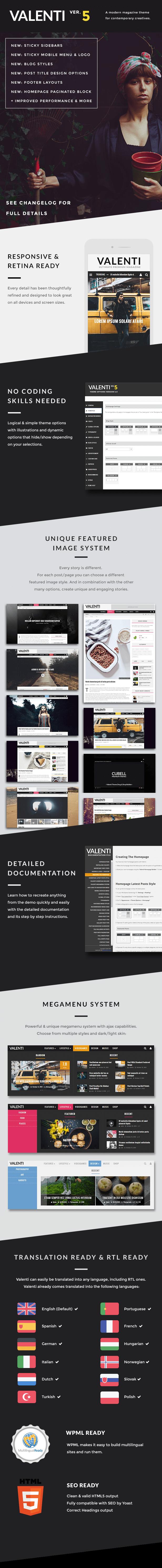 Valenti wordpress magazine theme for 2021 features