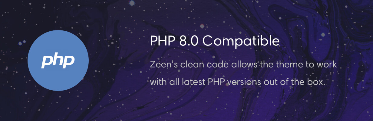 Zeen news theme is compatible with PHP 8.0
