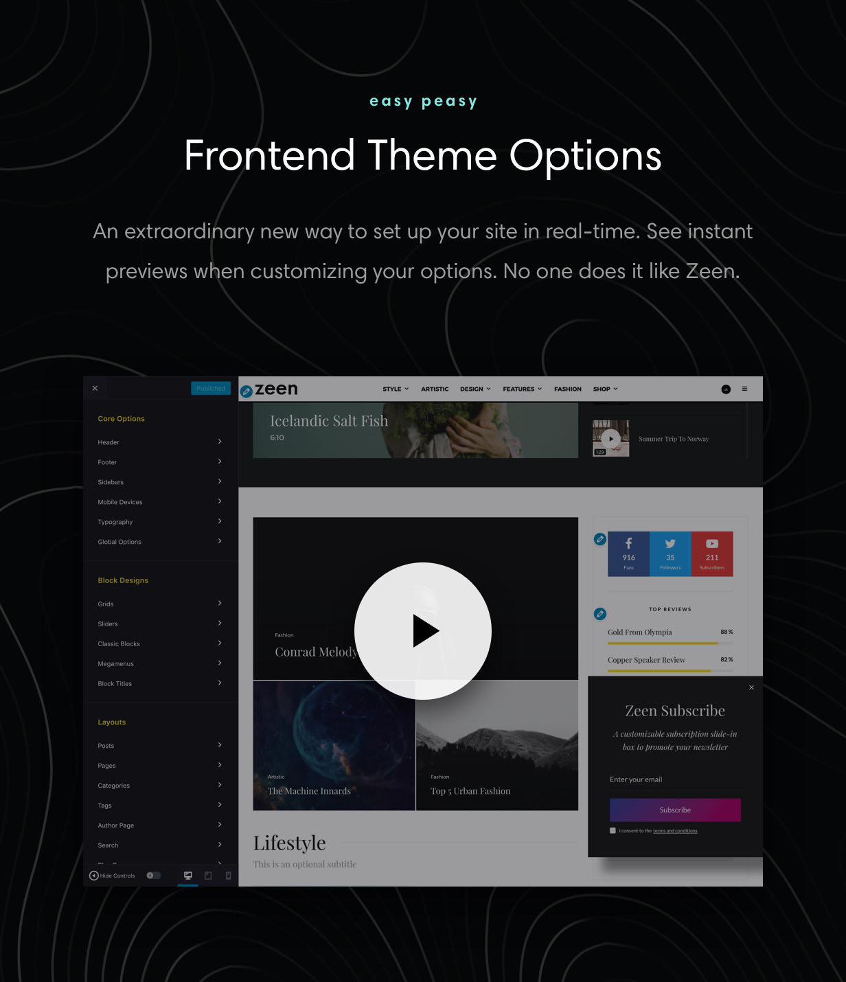 Zeen Theme Options are 100% frontend